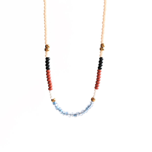 Colorful boho chic seed bead necklace with a dainty sterling silver chain perfect for your bohemian outfit.