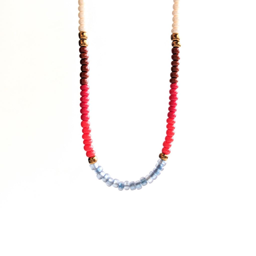 Moon & Milk - Handmade multi color beaded choker necklace with a dainty sterling silver chain.