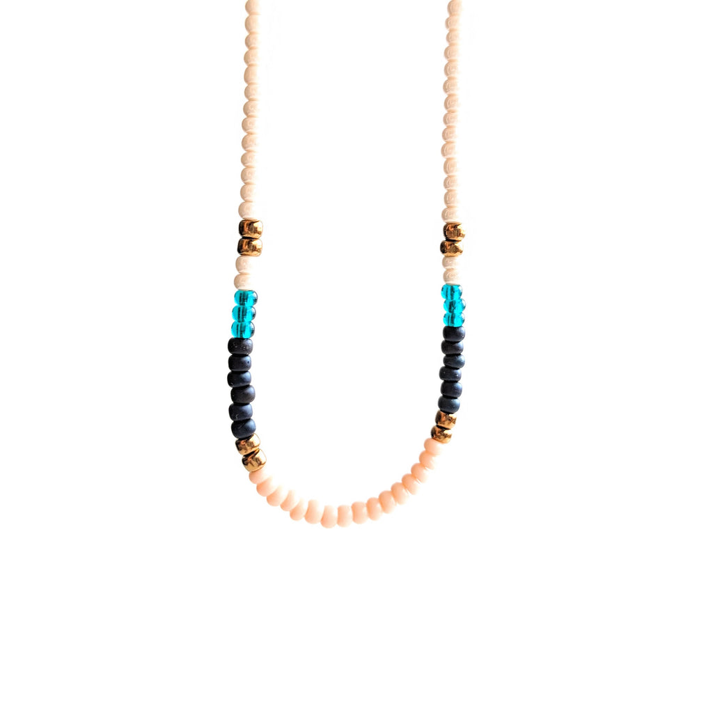 Multicolor seed bead choker necklace with a dainty sterling silver chain perfect for any summer outfit
