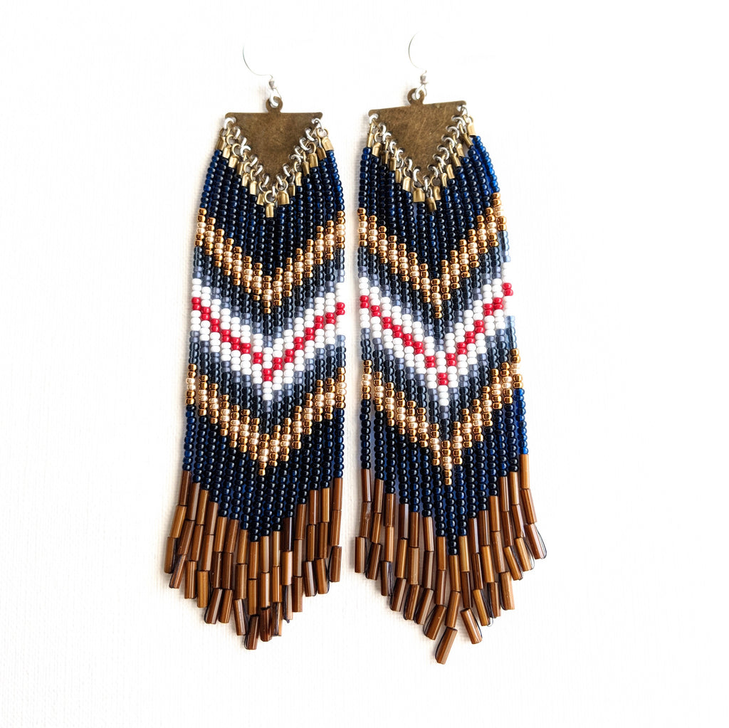 Moon & Milk- Long blue bohemian seed bead earrings with a red and gold chevron design