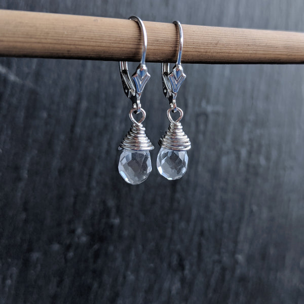 925 sterling silver wire wrapped earrings with a wire wrapped faceted teardrop quartz stone