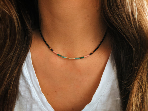 Moon & Milk - handmade multi-color beaded choker