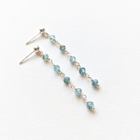 Long chain rosary earrings with tiny faceted blue apatite gemstones