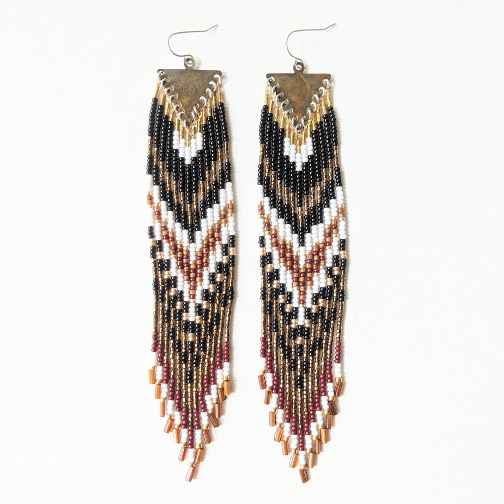 Surya Black Hawk Beaded Earrings