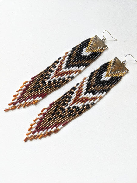 Moon & Milk - Handmade black beaded fringe earrings.