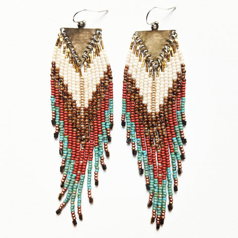 Native American inspired beaded earrings with a terracotta, turquoise, gold, and Picasso brown palette, handmade with glass beads, brass, and sterling silver.