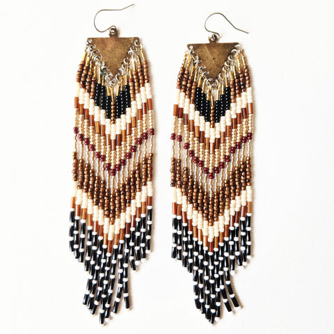 Moon & Milk - Golden brown beaded fringe earrings handmade with glass beads, sterling silver, and brass.