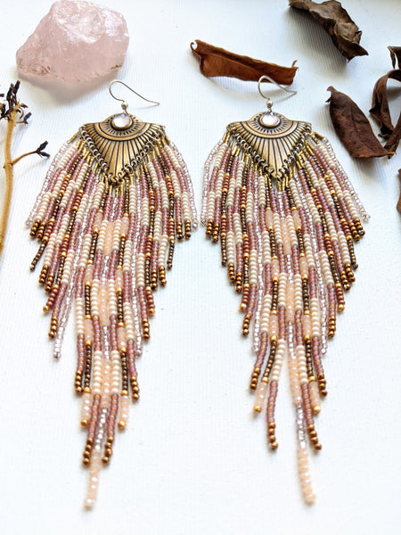 Moon & Milk - Extra long beaded bohemian earrings created with glass beads, sterling silver, smoky quartz, and brass.