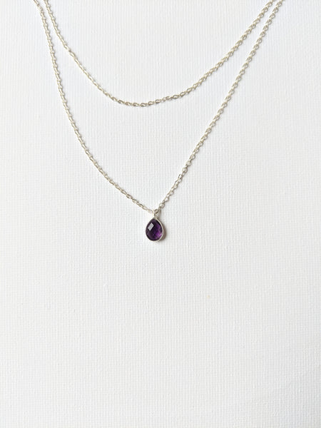 Moon & Milk - Handmade sterling silver necklace with a tiny amethyst faceted stone pendant.