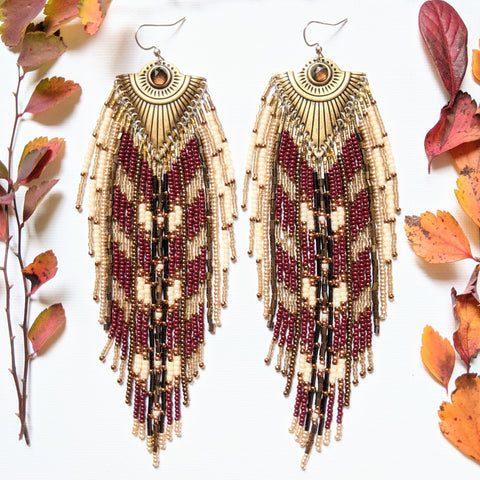 Hepburn Red Wine Bohemian Earrings