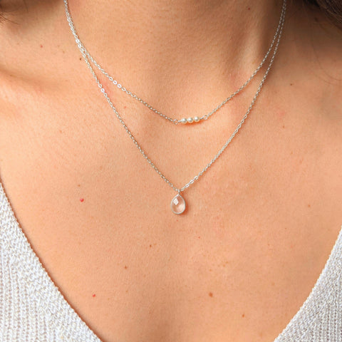 Moon & Milk - Sterling silver rose quartz two layer necklace with three tiny pearls