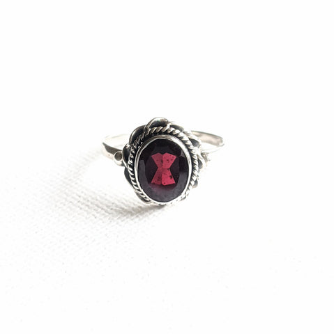Rosie the Riveter Boho Garnet Ring