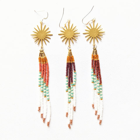 Moon & Milk - Handmade beaded fringe earrings created with a star-shaped brass piece, sterling silver, and Miyuki and Czech glass beads.