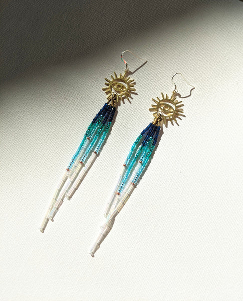 Vreeland Blue Ombre Evil Eye Earrings