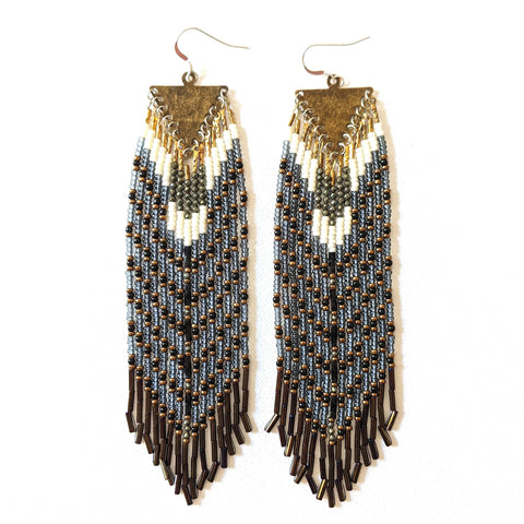 Harriet Pyrite Bronze Beaded Earrings