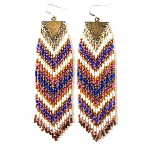 Amanda Magenta Chevron Beaded Earrings