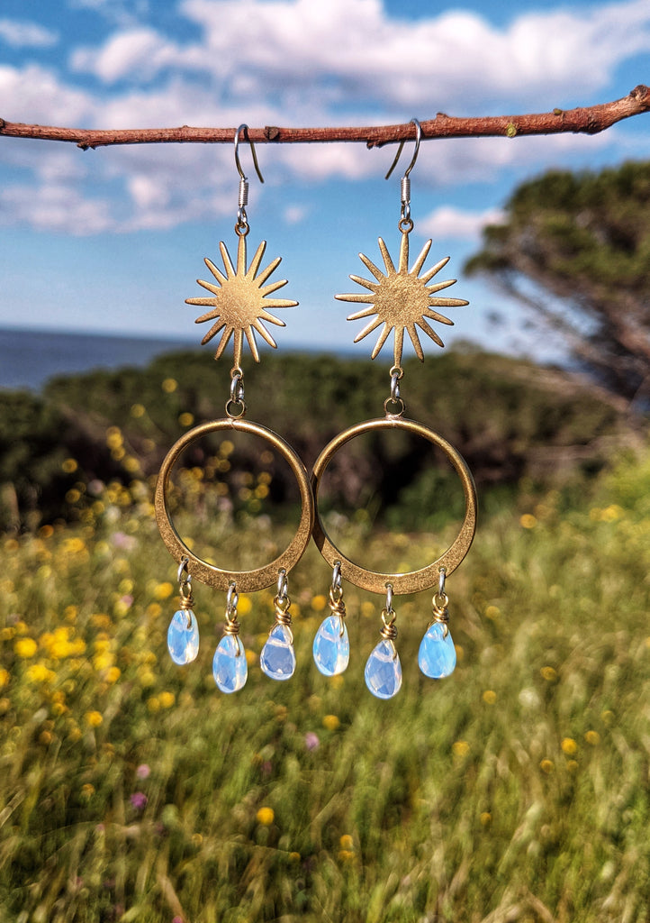 Selene Opalite Chandelier Hoop Earrings