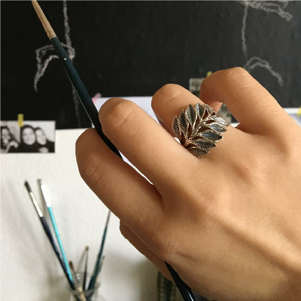 925 sterling silver wide leaf ring