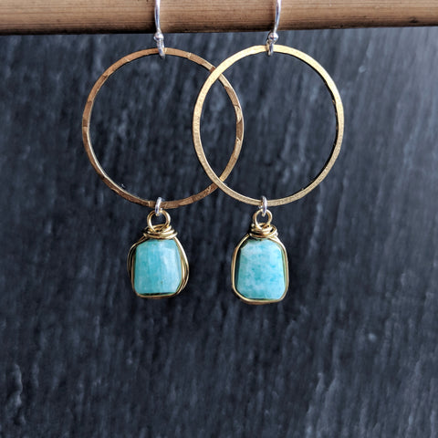 Moon & Milk - Handmade and hammered antique gold brass hoop earrings with wire-wrapped amazonite nugget gemstones.