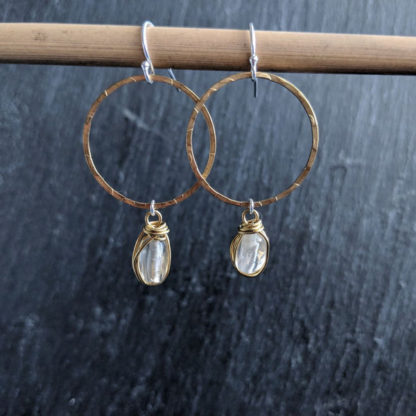 Moon & Milk - Handmade and hammered antique brass hoop earrings with wire-wrapped citrine gemstone nuggets.