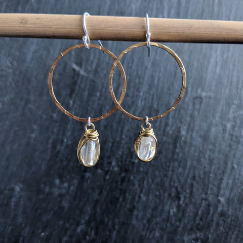 Moon & Milk - Handmade hammered brass hoop earrings with citrine gemstone nuggets