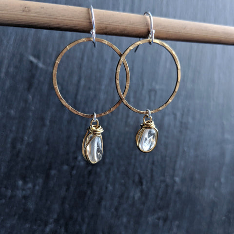 Hammered brass hoop earrings with wire-wrapped citrine gemstone nuggets