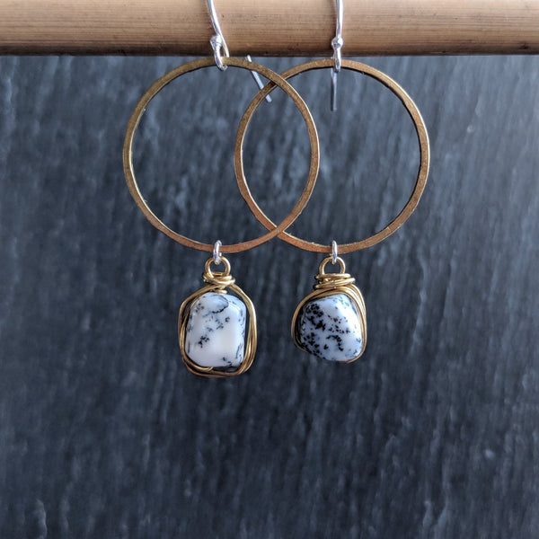 Moon & Milk - Handmade and hammered antique brass hoop earrings with wire-wrapped dendrite gemstone nuggets.