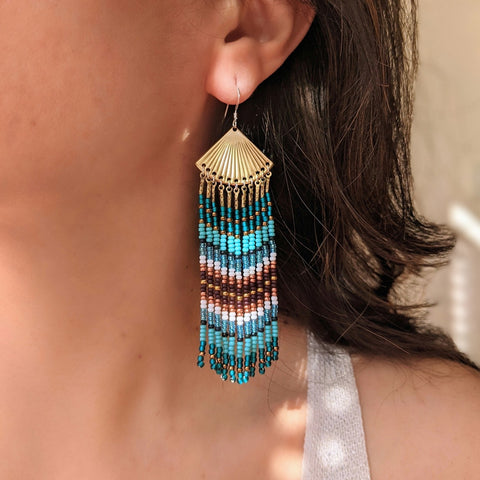 Moon & Milk - Blue and turquoise fringe earrings