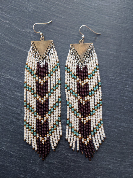 Long boho seed bead earrings with a chocolate brown and blue chevron design perfect for your bohemian wedding party