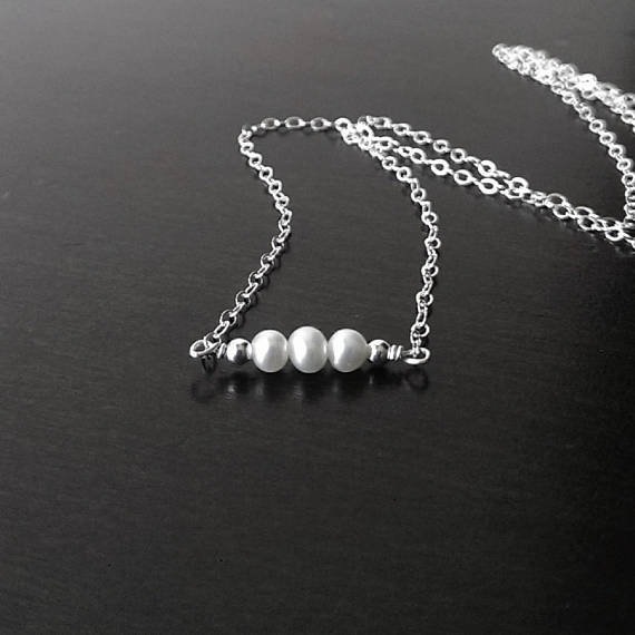 925 sterling silver dainty chain necklace with 3 tiny pearls and silver beads. Free shipping in the US.