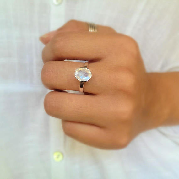 sterling silver faceted moonstone ring-free shipping