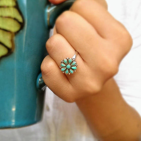 925 Sterling silver navajo flower turquoise ring