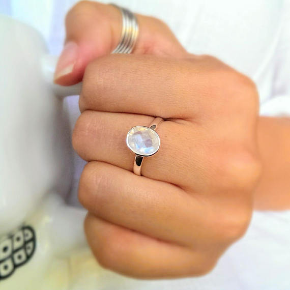 925 sterling silver faceted moonstone ring. Free shipping in the US.