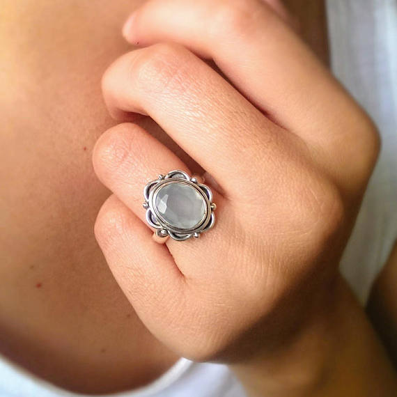 sterling silver aqua chalcedony gemstone ring with a delicate flower filigree design. Perfect for your bohemian soul.