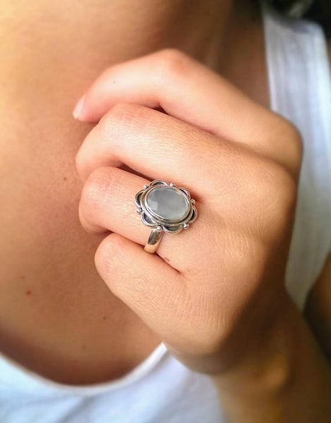 Sterling silver boho faceted chalcedony stone ring