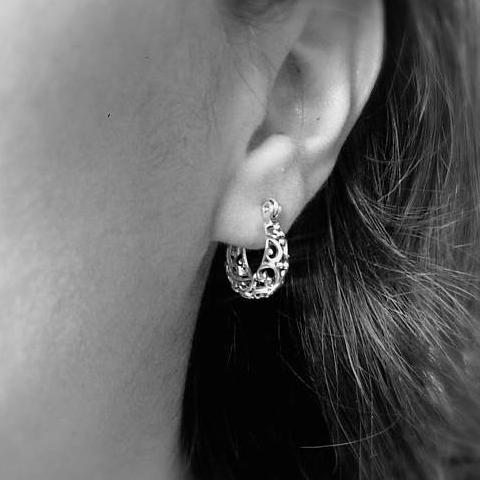 sterling silver small chunky hoop earrings with delicate filigree design in oxidized finish