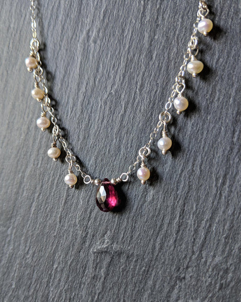 Moon & Milk- Handmade sterling silver chain drop necklace with a rhodolite garnet briolette and tiny pearls