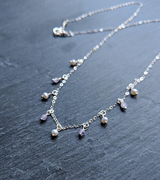 Sterling silver chain drop necklace with tiny white pearls and light purple faceted amethyst beads