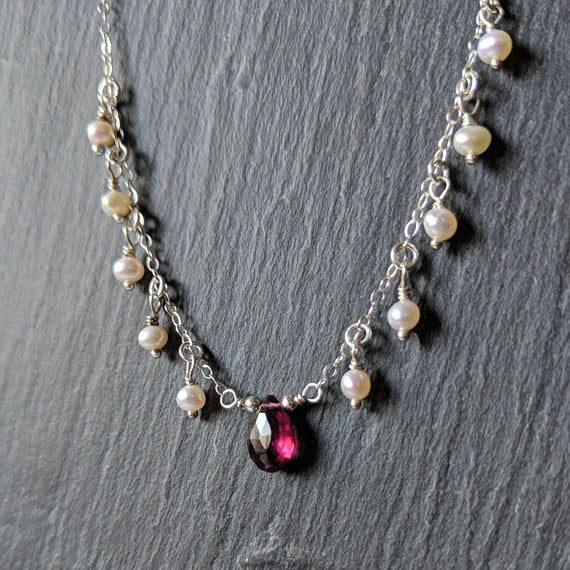 925 sterling silver dainty chain necklace with rhodolite garnet almond briolette and pearls