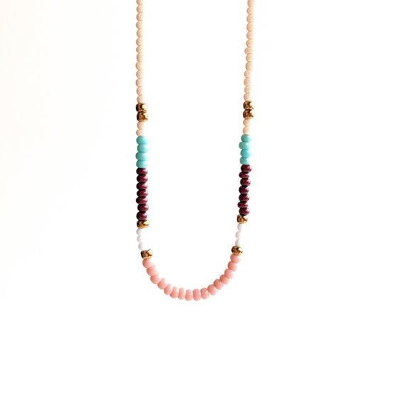 Moon & Milk - Handmade colorful seed bead choker with a dainty sterling silver chain