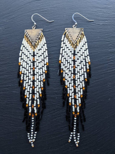 Extra long Native American style seed beaded earrings with a feather-like effect