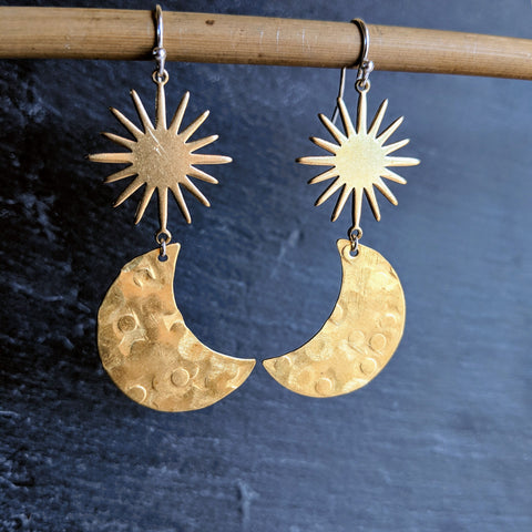Moon & Milk - Raw brass crescent moon and hammered earrings with a sunburst charm