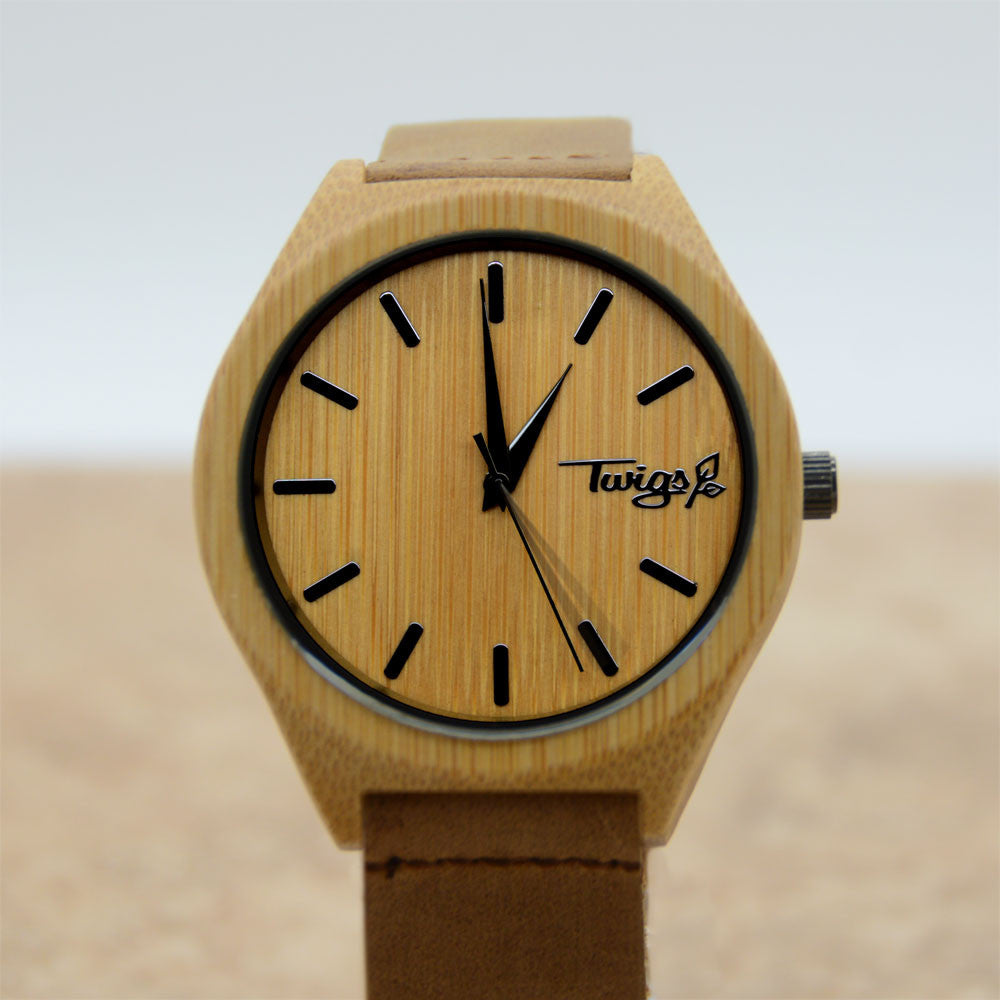 Large Brown Bamboo Watch