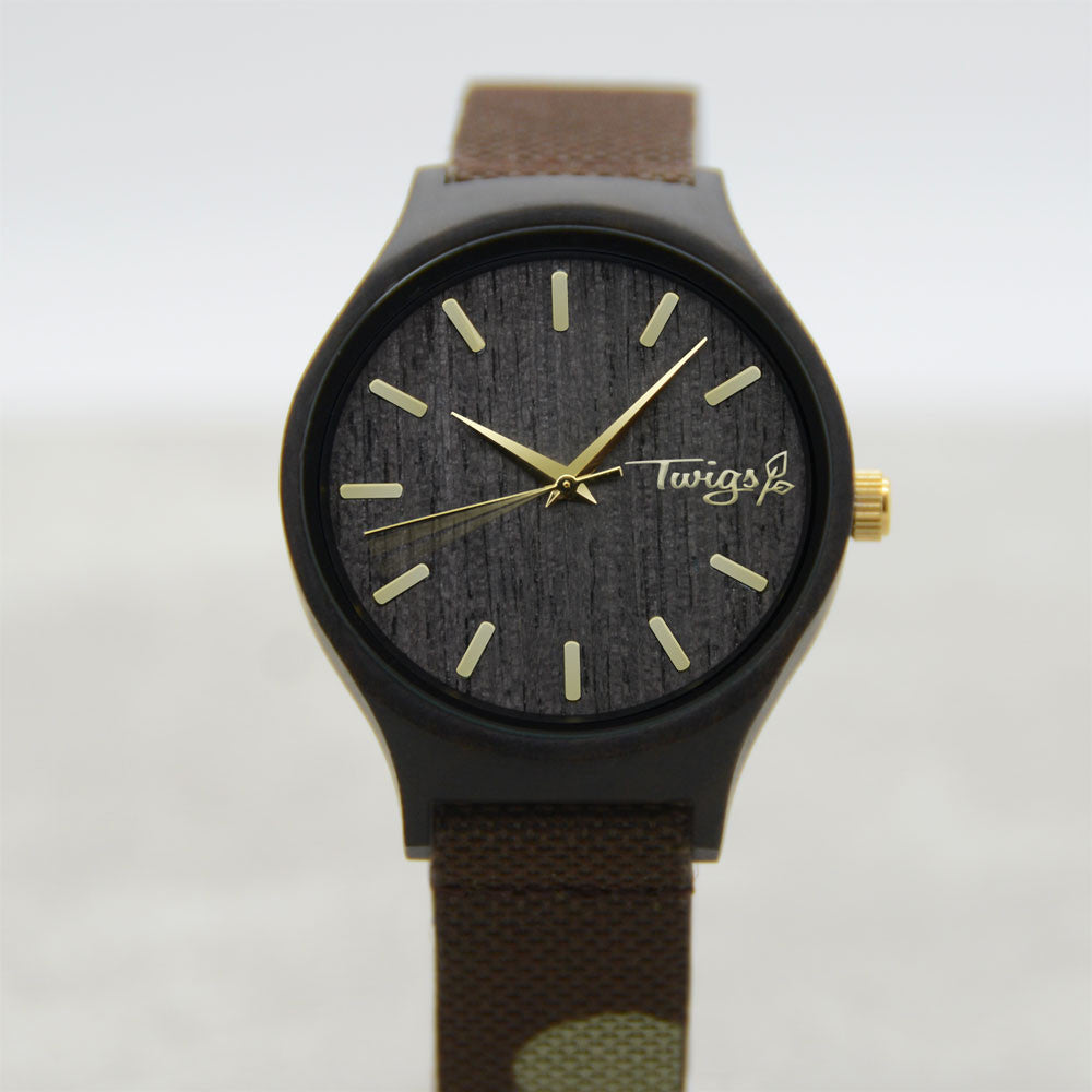 Camo and Gold Wood Watch, size small