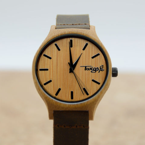 Small Brown Bamboo Watch