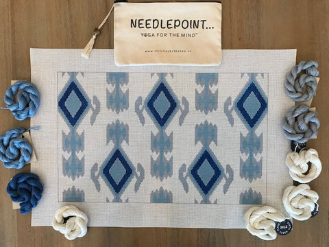 Blue, Grey and White Ikat