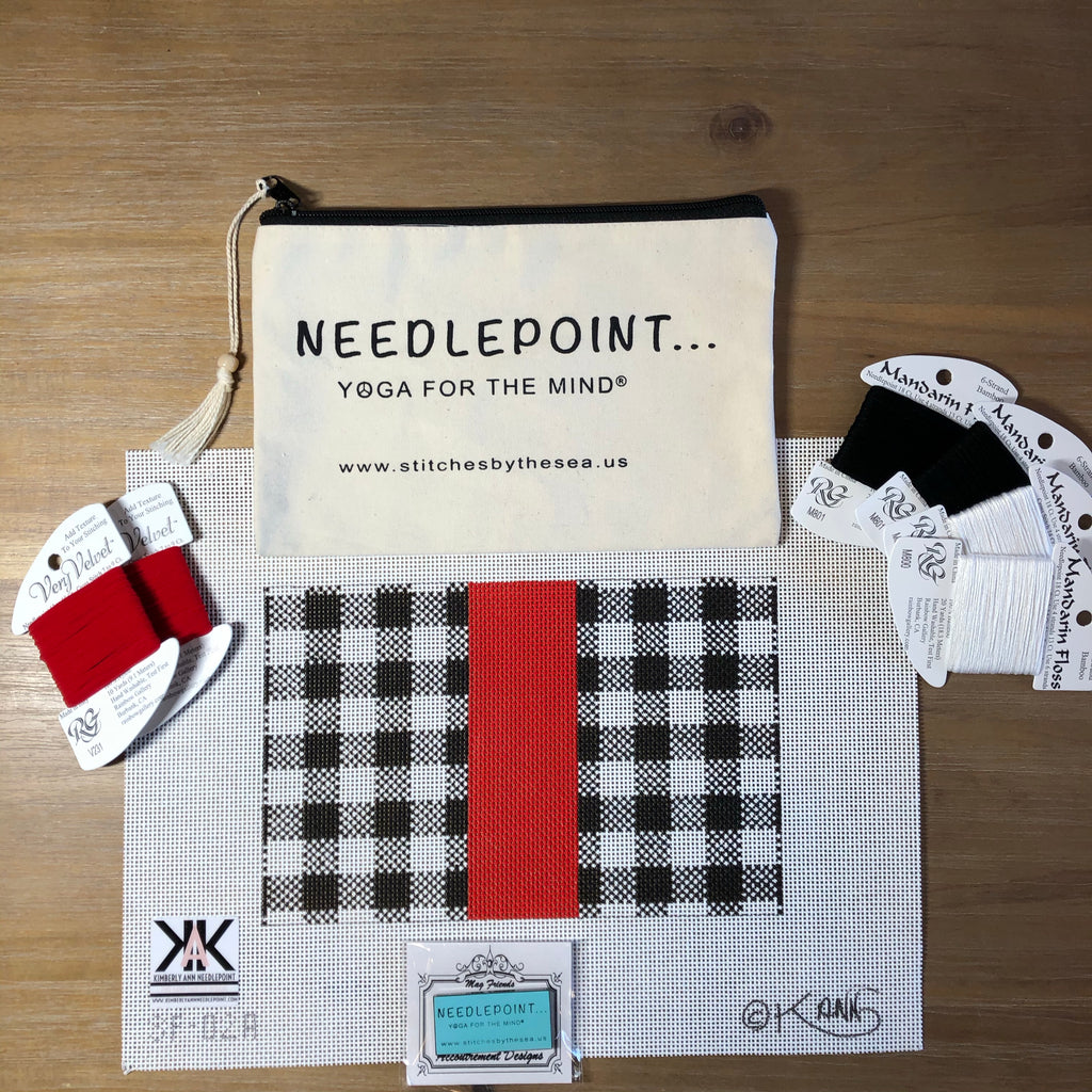 Black and White Plaid- Red Stripe