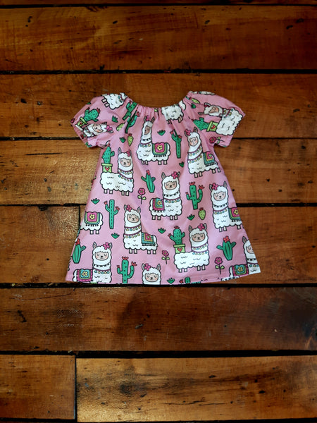 Indie Designer Dress / Toddler Top - With Cute Kawaii Llama fabric
