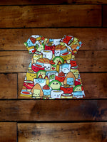 Indie Designer Dress / Toddler Top - With Kawaii Sushi inspired fabric