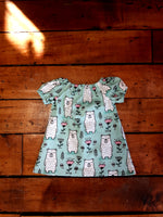 Indie Designer Dress / Toddler Top - With Cute Kawaii Bears fabric